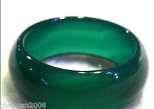 Natural Green Agate Crystal Healing Band Ring 8-9#