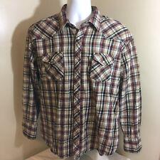 Wrangler Wrancher Mens Cowboy Flannel Pearl Snap Shirt Beige Purple Plaid 2X Big