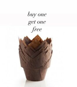"""50 x Mega """"Stepped"""" Chocolate Brown Muffin Tulip Wraps / Cases- BUY ONE GET FREE"""
