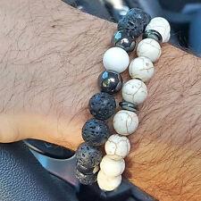Handmade Lava Stone & Howlite Round Beads Beaded Yogo Bracelet for Men 2 Piece