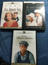 Grapes of Wrath, Great Gatsby, All About Eve, three classic films on Dvd