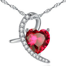Women's 925 Sterling Silver Necklace 4.0ct Red Heart Cut Gemstone Ruby Pendant
