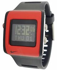 New Nike Mettle Blade WC0037 012 Mens Black Sport Red Chronograph Sports Watch