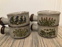 VTG (4) Takahashi Stoneware Handled Soup Bowls Flowers Speckled Brown Rim + dish