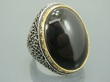 Turkish Handmade Ottoman 925 Sterling Silver Onyx Stone Men's Ring Sz 11