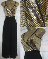 NEW Quiz Womens Metallic Jumpsuit Wide Leg Evening Party Black Gold Size 8-18