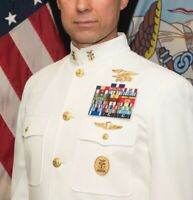 Genuine U.S. Navy COLLAR DEVICE: MASTER CHIEF/ E9 - PIN BACK - CHOKER WHITE