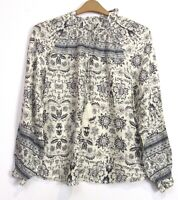 Marks & Spencer Ivory Artisan Print Tie Neck Boho Blouse Top - Size 8 - 24