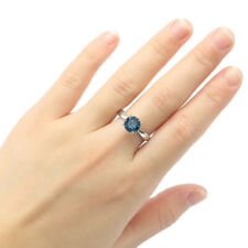 8x8mm Romantic 2.3g Round London Blue Topaz Gift 925 Sterling Silver Rings 7.75