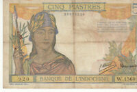 BILLET DE BANQUE D'INDOCHINE 5 PIASTRES 1946 VERY FINE / TTB