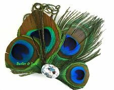 Peacock Feather Hair Clip Pin Accessories Fascinator Handmade in UK 'Becca'
