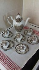 JOHNSON BROTHERS - ENGLISH COUNTRY LIFE  BROWN   COFFEE SET 13 PIECES