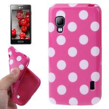 TPU Case für LG E455 Optimus L5 II in pink mit weißen Punkten Schutzcase