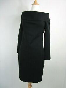 Emilio Pucci Black Wool Off The Shoulder Dress UK Size 14