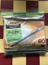 New Listingbic Pack Of 15 Ballpoint Pens Round Stic Xtra Life Medium Black Ink New