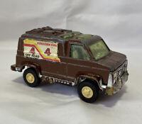 """Vintage Tootsietoy Die-Cast Metal Painted Brown Van Off-Road """"4"""" Truck USA Made"""