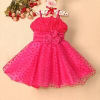 Hot Pink Baby Flower Girls Party Bridesmaid Wedding  Christmas Tutu Dress 2-7 Yr