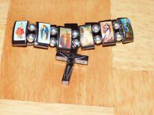 """Bracelet Hematite 7""""w/cross Devotional Saint Reversible Double Side NEW Unisex"""