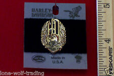 "Harley Davidson Winged Eagle on Bar & Shield ""Gold"" Biker Pin-H710G-P"
