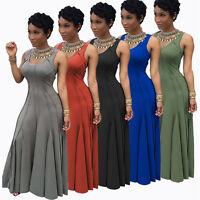 Women Ladies Sleeveless High Waist Elegant Maxi Slim Long Evening Party Dress