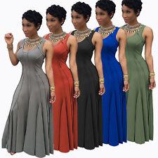New Women Sleeveless High Waist Elegant Maxi Slim Long Evening Party Dress#