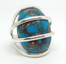 Mohave turquoise solid Sterling Silver ring, UK size O, oval, new, Actual One.
