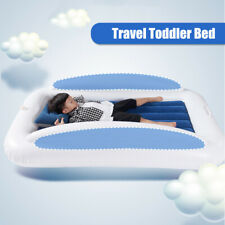 Kids Toddler Inflatable Travel Bed Camping Home Blow Up Mattress w/Safety Bumper