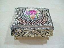 Vintage Metal Rose Trinket Box Vanity Jewelry