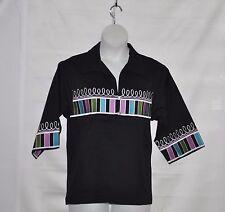 Bob Mackie Embroidered 3/4 Sleeve Jacket Size S Black