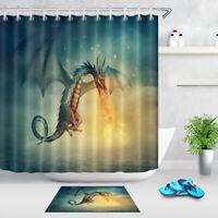 Fantasy Fairy Dragon Shower Curtain Waterproof Fabric Bathroom Curtains 12 Hooks