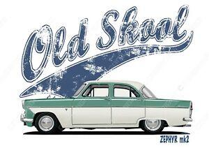 FORD ZEPHYR mk2 t-shirt. OLD SKOOL. CLASSIC CAR. MODIFIED. RETRO. CUSTOM.