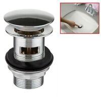Oval Chrome Basin Sink Tap Button Pop Up Waste Plug Click Slotted Bathroom UKDC