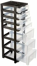 Storage Cart with 7 Drawers and Organizer Top for Home Office Rolling Black New
