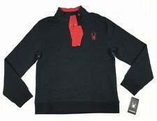 $149 Spyder 1/4 Button Pullover Men Size Large Black Red Sweater