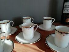 6 tasses + 6 sous tasses en porcelaine Royale Doulton Rhodes England...