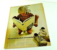 """Book Of Knowledge Grow Up Together Boy Read Encyclopedia Print Ad 13.5""""x10"""" AK"""