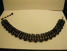 Vintage Signed William DeLillo Choker Necklace Black Glass Ice Rhinestones