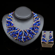 blue color glass crystal rhinestone wrap necklace/earrings Set SHIP FROM NYC