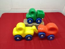 3 Vintage Little Tikes FIRST WHEELS Chunky Red Car Yellow Tow Green Dump Trucks