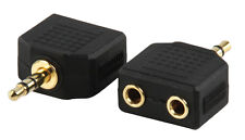 3.5mm Jack Plug to 2 x 3.5mm Female Adaptor Gold Plated - PC Speaker Adapter