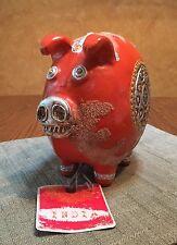 Piggy Bank Coin Slot Ceramic Pig Figurine Statue India Hand-Made Art 8x5x8