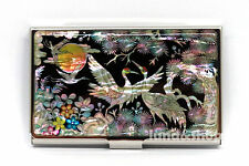 Mother of Pearl Metal Business ID Name Credit Card Case Holder Cash Money Wallet