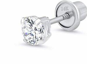 2 mm Round Diamond Tiny Stud Screw back Earring in14k White gold ~ Gift box