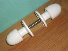 VINTAGE WHITE LACRINOID DOOR HANDLES 1940 RETRO EARLY PLASTIC BAKELITE