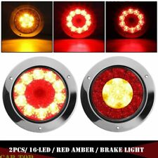 "2X 4"" Round 16-LED Red/Amber Truck Trailer Brake Stop Turn Signal Tail Lights"