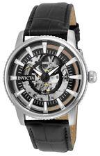 Invicta Objet d'Art 22641 Men's Round Skeleton Automatic Black Leather Watch