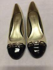 Karen Scott MAHRI Nude Wedge Heels Women's Shoes, Bone/Black, Size 7.5 M