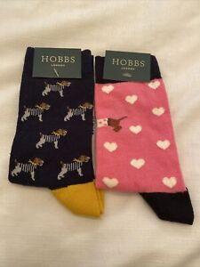 Hobbs Women's Dog Socks 2 Pairs One Size New Dog All Over & Valentine Dog