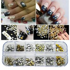 Nail Art 1200pcs 3D Punk Alloy Rivet Studs Decoration Tips Gold Silver Mix Shape