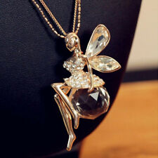Fashion Women Long Chain Sweater Necklace Crystal Fairy Angel Wing Pendant